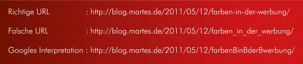Beispiele für Trennzeichen innerhalb von URLs | Werbeagentur und SEO Agentur Karlsruhe
