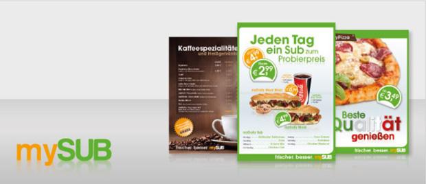 Die Werbeagentur Karlsruhe entwickel visuelle Gestaltungsrichtlinien und ein Logo für das Unternehmen mySUB aus Köln