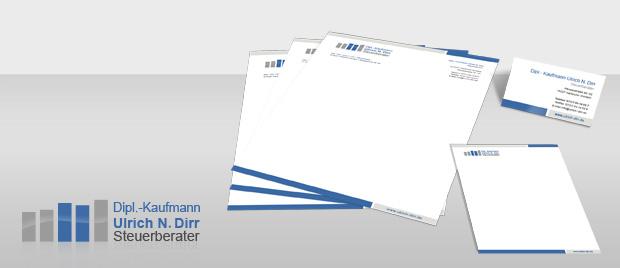 Werbeagentur Karlsruhe: Geschäftsausstattung Steuerkanzlei Dirr